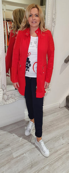 Red Mid Length Sports Jacket