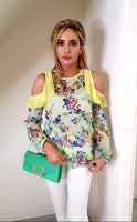 Green Floral Cold Shoulder Top