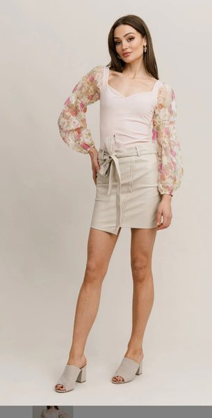 Laura Puff Floral Sleeve Top