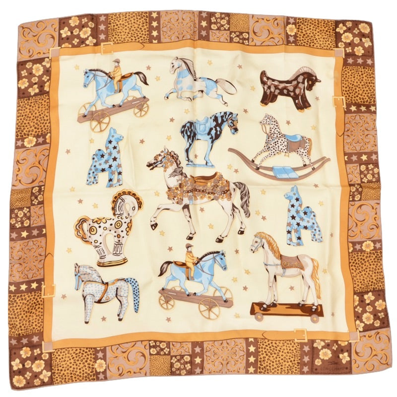 Longchamp Paris Rockinghorse Print Silk Scarf