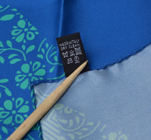 Andrew's Ties Silk Pocket Square - Blue Hibiscus