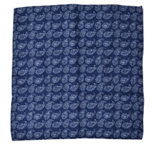 Load image into Gallery viewer, Wool/Silk Paisley Pocket Square - Blue