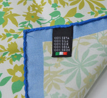 Load image into Gallery viewer, Andrew's Ties Silk Pocket Square Floral Print - Green, White, Blue