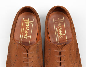 Harrod's x Crockett & Jones Hampton Shoes Size UK 7.5F - Snuff Suede