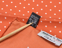 Load image into Gallery viewer, Andrew's Ties Collection Silk Pocket Square - Orange Polka Dot