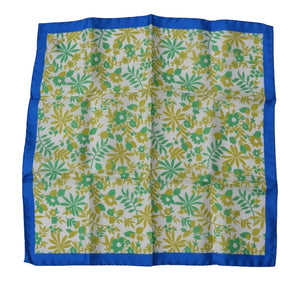 Andrew's Ties Silk Pocket Square Floral Print - Green, White, Blue