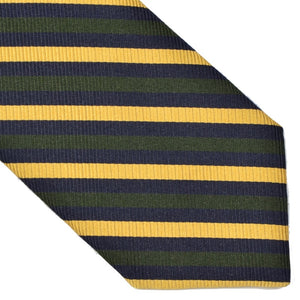 Breuer Stripe Silk & Cotton Tie - Green, Blue & Yellow