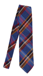 Drake's London Slubby Silk Tie - Plaid