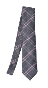 Andrew's Ties Plaid Wool Tie - Grey & Pink