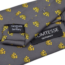 Load image into Gallery viewer, Comtesse Crown Print Silk Tie - Grey