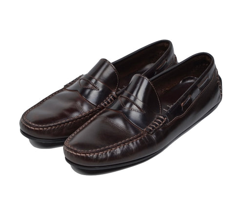 D. Lepori Leather Driving Shoes Size 45 - Dark Brown