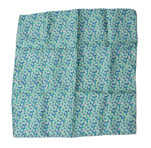 Silk Pocket Square Flower Print - Greens