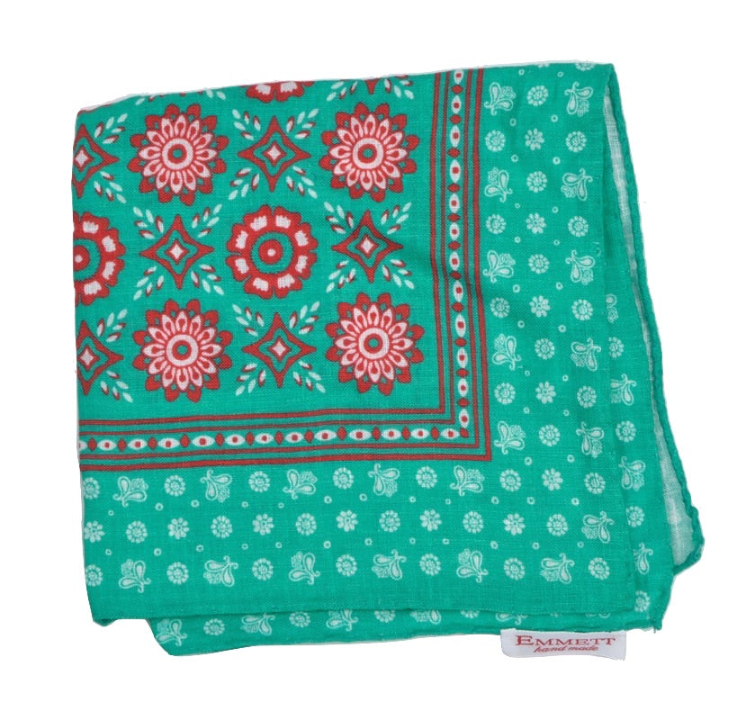 Emmett Hand MadeMedallion Linen Pocket Square - Green & Red
