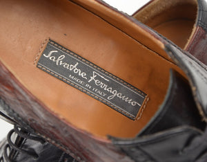 Salvatore Ferragamo Tramezza Torrent 2 Ostrich Shoes - Size 7EEE
