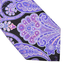 Load image into Gallery viewer, Paisley Silk Tie - Purple & Black