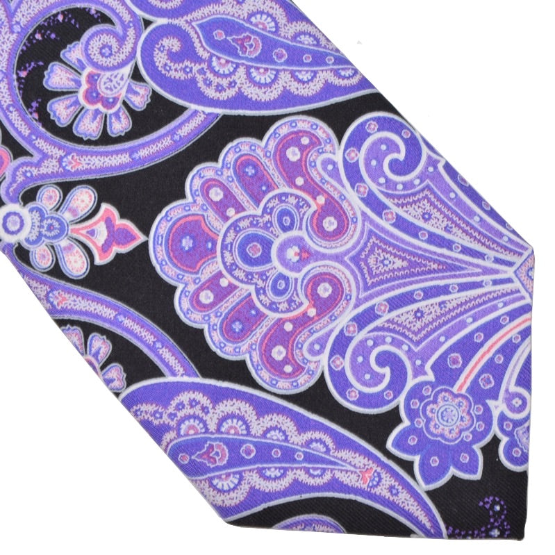 Paisley Silk Tie - Purple & Black