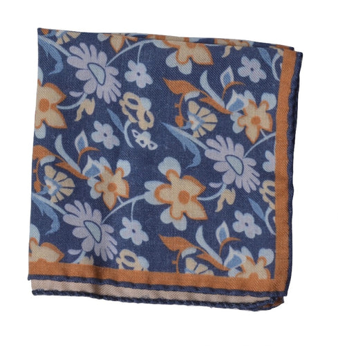 Wool/Silk Pocket Square Floral Print - Blue & Tan