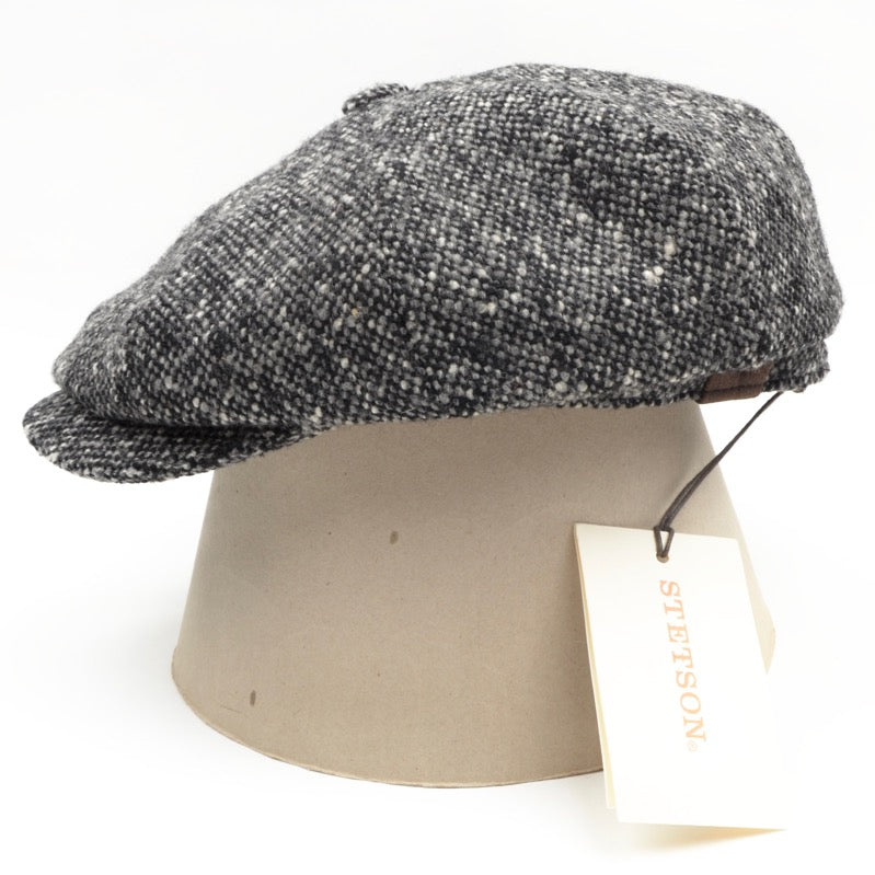 Stetson Hatteras Donegal Tweed Flatcap Hat Size 55/S - Grey