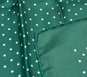 Andrew's Ties Collection Silk Pocket Square - Green Polka Dot