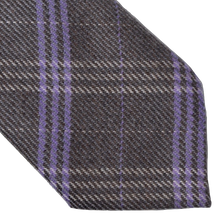 Load image into Gallery viewer, Andrew's Ties Plaid Wool Tie - Grey & Purple