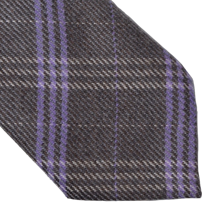 Andrew's Ties Plaid Wool Tie - Grey & Purple