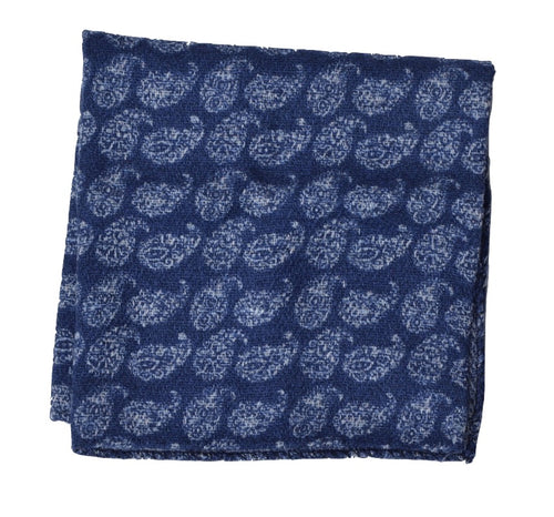 Wool/Silk Paisley Pocket Square - Blue