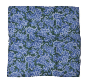 Wool/Silk Paisley Pocket Square - Blue & Green