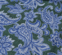 Load image into Gallery viewer, Wool/Silk Paisley Pocket Square - Blue & Green