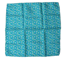 Load image into Gallery viewer, Silk Pocket Square Flower Print - Blue-Green