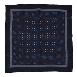CCIA Vercelli Handrolled Silk Pocket Square - Navy