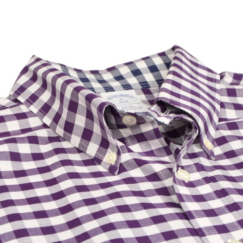 Brooks Brothers Shirt Size XL Slim Fit - Purple Gingham