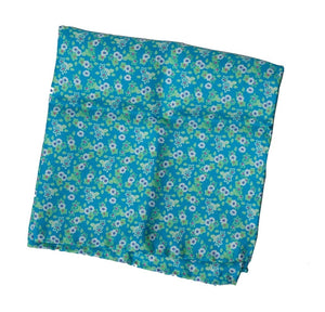 Silk Pocket Square Flower Print - Blue-Green