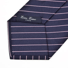Load image into Gallery viewer, Erre Enne Como Silk Striped Tie - Navy & Pink