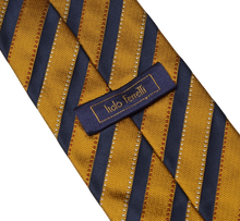 Load image into Gallery viewer, Italo Ferretti Striped Silk Tie - Gold & Navy