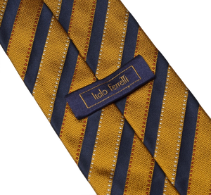 Italo Ferretti Striped Silk Tie - Gold & Navy