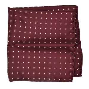 Anonymous Handrolled Silk Pocket Square - Burgundy Polka Dot