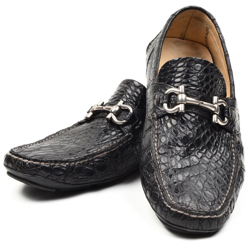 Salvatore Ferragamo Crocodile Skin Driving Loafers Size 9 1/2 EEE - Black