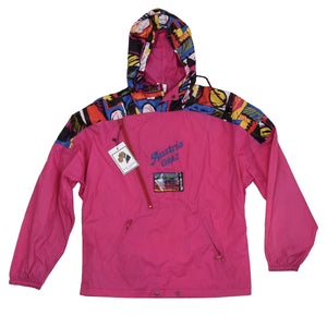 Vintage '80s Adidas Packable Nylon Rain Jacket - Fuchsia