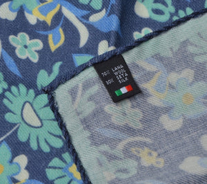 Wool/Silk Pocket Square Floral Print - Blue & Turquoise