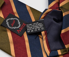 Load image into Gallery viewer, Ascot for Alexander Wien Striped Silk Tie - Blue, Green, Red