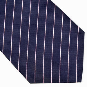 Erre Enne Como Silk Striped Tie - Navy & Pink