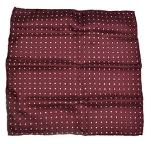 Load image into Gallery viewer, Anonymous Handrolled Silk Pocket Square - Burgundy Polka Dot