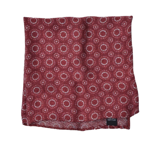 Wool/Silk Circle Pattern Pocket Square - Burgundy