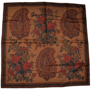 Etienne Aigner Printed Silk Scarf - Copper Brown