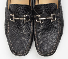 Load image into Gallery viewer, Salvatore Ferragamo Crocodile Skin Driving Loafers Size 9 1/2 EEE - Black
