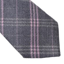 Load image into Gallery viewer, Andrew's Ties Plaid Wool Tie - Grey & Pink
