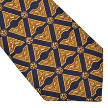 Load image into Gallery viewer, Harrod's London Flower Print Silk Tie - Navy & Gold