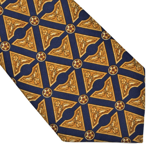 Harrod's London Flower Print Silk Tie - Navy & Gold