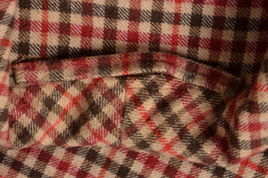 Vintage Handmade Shawl Collar Wool Robe - Plaid
