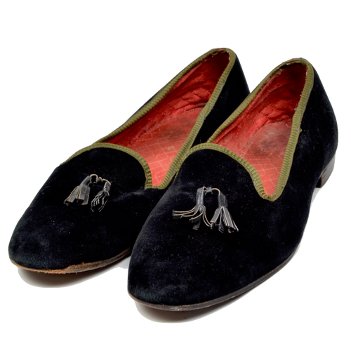 Turnbull & Asser Velvet Slipper/House Shoes Size ca. 41.5 - Black